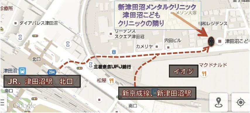 地図 新津田沼メンタルクリニック